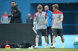 06.09.2014, Trainingsground, Zagreb, CRO, FS Vorbereitung, Trainingslager, Kroatisches Nationalteam, im Bild Alen Halilovic, Luka Modric // during a training session of the national footballteam of Croatia in preparation for the upcoming EURO 2016 qualifying match against Malta on 09. Spetember 2014 in Zagreb, at the Trainingsground in Zagreb, Croatia on 2014/09/06. EXPA Pictures © 2014, PhotoCredit: EXPA/ Pixsell/ Sanjin Strukic<br /> <br /> *****ATTENTION - for AUT, SLO, SUI, SWE, ITA, FRA only*****