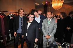 Left to right, LUCAS OSSENDRIJVER, ALBER ELBAZ, MIKA and Christian Louboutin at the launch party of 'Songs For Sorrow' hosted by Alber Elbaz and Mika held at Lanvin, 32 Savile Row, London on 11th November 2009.