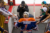 KELOWNA, CANADA - OCTOBER 2: Laurent Brossoit #1 of the Edmonton Oilers enters the ice against Los Angeles Kings on October 2, 2016 at Kal Tire Place in Vernon, British Columbia, Canada.  (Photo by Marissa Baecker/Shoot the Breeze)  *** Local Caption *** Laurent Brossoit;