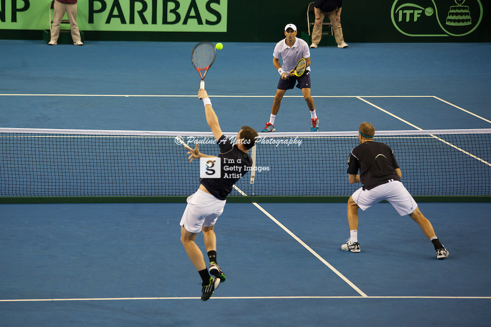 The Bryan Brothers v Jamie Murray and Dominic Inglot at the Davis Cup tie, Glasgow. Jamie Murray serves.
