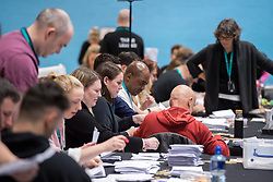 © Licensed to London News Pictures. 13/12/2019. Stroud, Gloucestershire, UK. General Election 2019; the election count for the Stroud constituency which is a tight marginal seat between Labour and the Conservatives. At the last parliamentary election in 2017 the winning majority for the Labour candidate David Drew was 687. Photo credit: Simon Chapman/LNP.