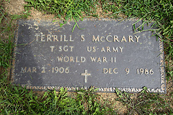 31 August 2017:   Veterans graves in Park Hill Cemetery in eastern McLean County.<br /> <br /> Terrill S McCrary  Technical Sergeant  US Army  World War II  Mar 2 1906  Dec 9 1986