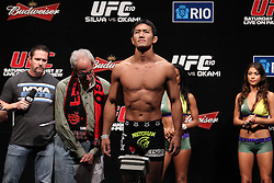 August 26, 2011; Rio De Janiero, Brazil; Yushin Okami weighs in for his  upcoming bout against UFC Middleweight Champion Anderson Silva at UFC 134.