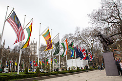 © Licensed to London News Pictures. 15/04/2018. London, UK. Flags from countries in the Commonwealth of Nations are seen on Parliament Square, ahead of the Commonwealth Heads of Government Meeting which begins tomorrow. Photo credit : Tom Nicholson/LNP