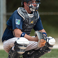 25 April 2010: Catcher Boris Marche of Rouen is seen during game 1/week 3 of the French Elite season won 12-4 by Rouen over the PUC, at the Pershing Stadium in Vincennes, near Paris, France.