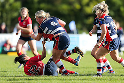 Izzy Noel Smith of Bristol Ladies powers over to score a try - Rogan Thomson/JMP - 16/10/2016 - RUGBY UNION - Cleve RFC - Bristol, England - Bristol Ladies Rugby v Lichfield Ladies - RFU Women's Premiership.
