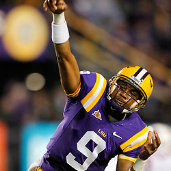 November 12, 2011; Baton Rouge, LA, USA; LSU Tigers quarterback Jordan Jefferson (9) prior to kickoff of of a game against the Western Kentucky Hilltoppers at Tiger Stadium. LSU defeated Western Kentucky 42-9. Mandatory Credit: Derick E. Hingle-US PRESSWIRE