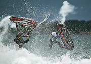 Picture taken during the Cronulla 2011 RIP N RIDE Jetski competition held at Wanda Beach Cronulla , in Sydney AUSTRALIA showing 2 competitors doing Backflips during the semi finals of the competition.