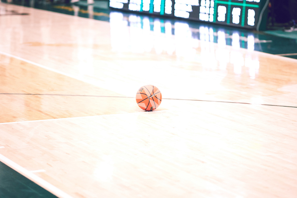 A basketball during the Men's Basketball Home Game on Fri Feb 01 at Centre for Kinesiology,Health and Sport. Credit: Arthur Ward/Arthur Images