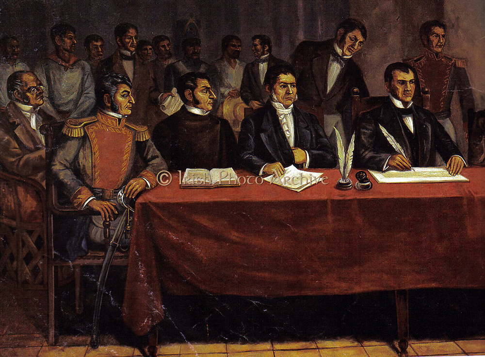 José María Teclo Morelos y Pavón (1765  –  1815) Mexican Roman Catholic priest and revolutionary rebel leader who led the Mexican War of Independence movement, assuming its leadership after the execution of Miguel Hidalgo y Costilla in 1811. He was later captured by the Spanish colonial authorities and executed for treason in 1815.   Painting shows Morales (right ) at the sesión plenaria del Congreso de Chilpancingo 1813