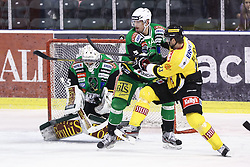 11.01.2013, Hala Tivoli, Ljubljana, SLO, EBEL, HDD Olimpija Ljubljana vs UPC Vienna Capitals, 40. Runde, im Bild Zdenek Blatny (UPC Vienna Capitals, #13) vs Thomas Andrew (HDD Olimpija, #5) and Jerry Kuhn (HDD Telemach Olimpija, #35) // during the Erste Bank Icehockey League 40th Round match between HDD Telemach Olimpija Ljubljana and UPC Vienna Capitals at the Hala Tivoli, Ljubljana, Slovenia on 2013/01/11. EXPA Pictures © 2013, PhotoCredit: EXPA/ Sportida/ Matic Klansek Velej..***** ATTENTION - OUT OF SLO *****