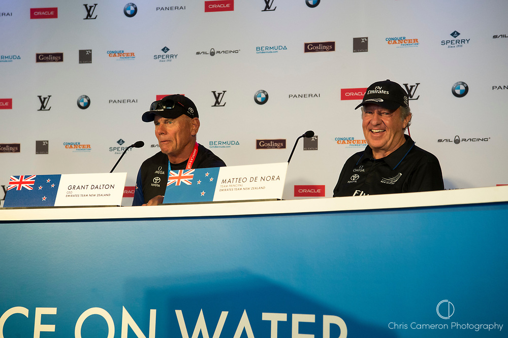 The America's Cup Village, Bermuda, 26th June 2017. Emirates Team New Zealand CEO Grant Dalton and Team Principal Matteo de Nora at the final press conference as winners of the America's Cup.