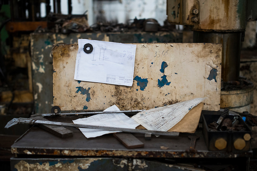 A work bench is seen at Azov Engineering Group on September 9, 2015 in Kyiv, Ukraine.