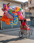 Balloon seller on rickshaw (India)