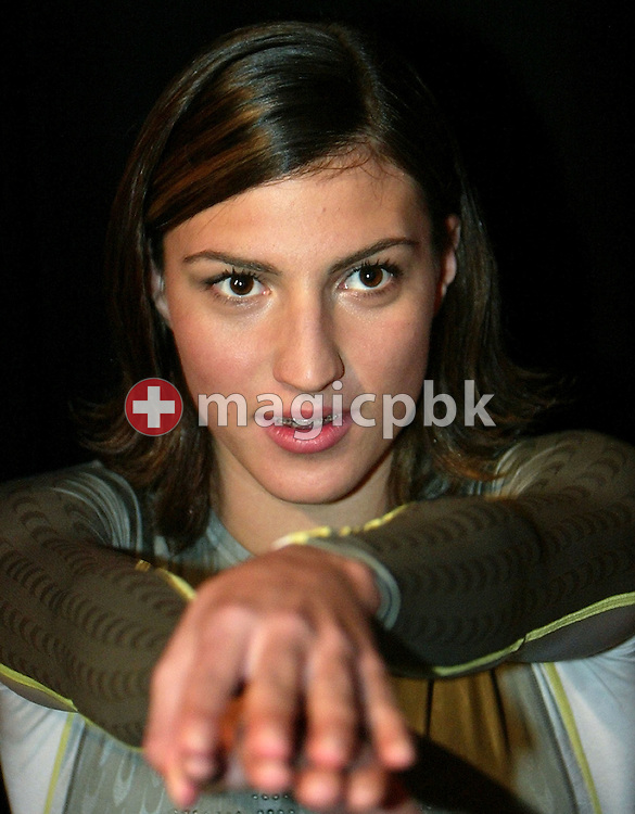 Mirna JUKIC of Austria poses in the new Speedo FASTSKIN FSII (FS2) swim suit on Tuesday, March 9, 2004, at the launch party in London. (Photo by Patrick B. Kraemer/MAGICPBK)