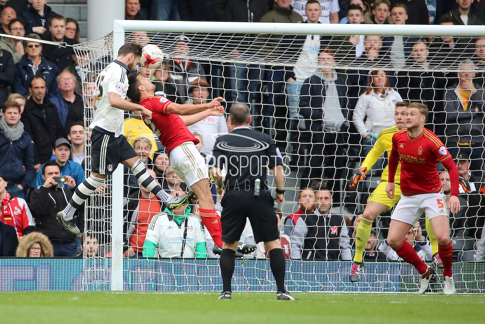 Fulham defender, Michael Madl (15) with a Fulham chance during the Sky Bet Championship match between Fulham and Nottingham Forest at Craven Cottage, London, England on 23 April 2016. Photo by Matthew Redman.