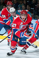 KELOWNA, CANADA -JANUARY 29: Connor Chartier RW #27 of the Spokane Chiefs skates against the Kelowna Rockets on January 29, 2014 at Prospera Place in Kelowna, British Columbia, Canada.   (Photo by Marissa Baecker/Getty Images)  *** Local Caption *** Connor Chartier;