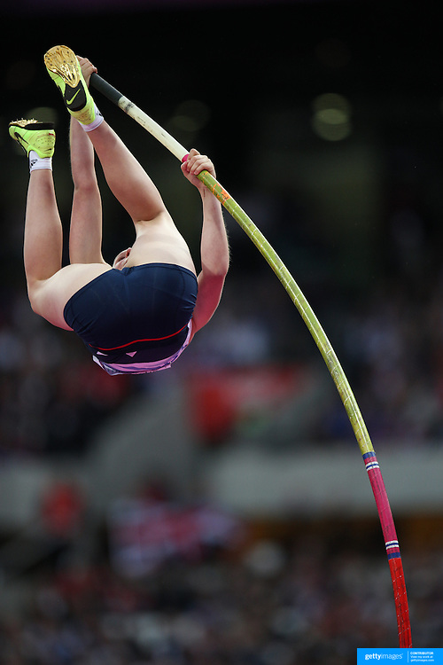 Holly Bleasdale, Great Britain, in action during the Women's Pole Vault Final at the Olympic Stadium, Olympic Park, during the London 2012 Olympic games. London, UK. 4th August 2012. Photo Tim Clayton