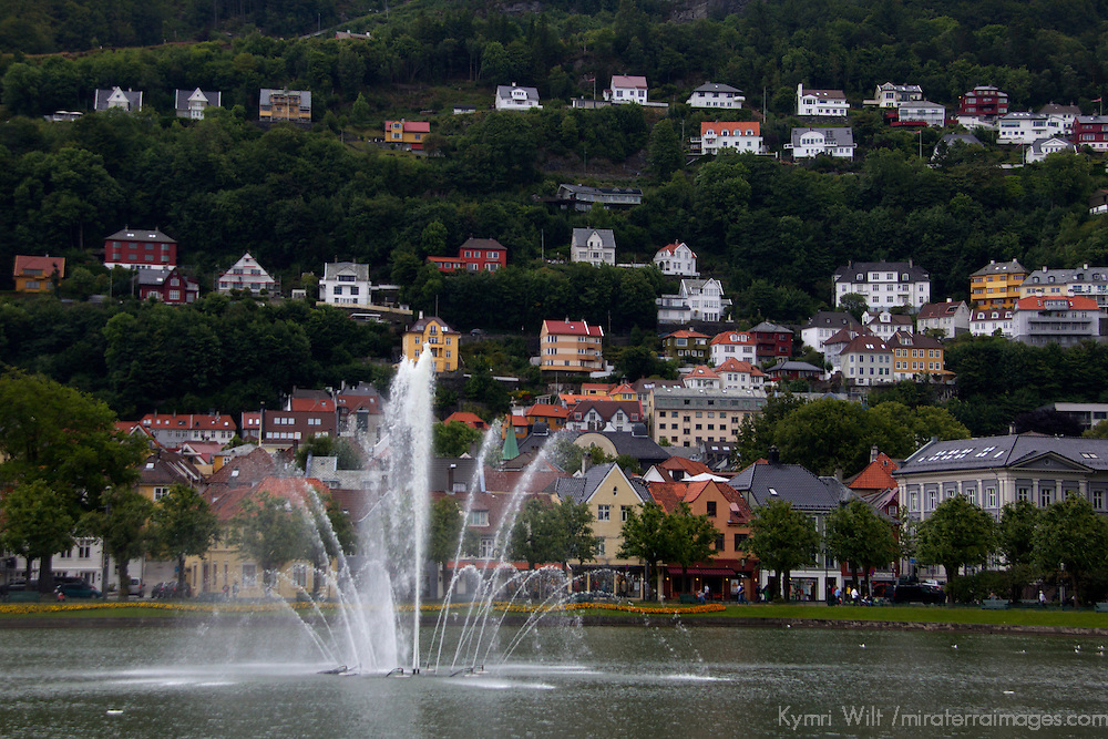 Europe, Norway, Bergen. Fountain in Bergen