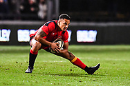 Dragons' Ashton Hewitt during the pre match warm up<br /> <br /> Photographer Craig Thomas/Replay Images<br /> <br /> Guinness PRO14 Round 18 - Dragons v Cheetahs - Friday 23rd March 2018 - Rodney Parade - Newport<br /> <br /> World Copyright © Replay Images . All rights reserved. info@replayimages.co.uk - http://replayimages.co.uk