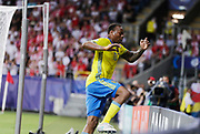 LUBLIN, POLEN 2017-06-19<br /> Carlos Strandberg jublar efter att ha gjort 1-1 under UEFA U21 matchen mellan Polen och Sverige den 19 juni p&aring; Arena Lublin, Polen.<br /> Foto: Nils Petter Nilsson/Ombrello<br /> Fri anv&auml;ndning f&ouml;r kunder som k&ouml;pt U21-paketet.<br /> Annars Betalbild.<br /> ***BETALBILD***