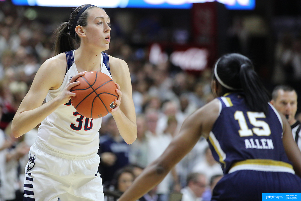 Breanna Stewart, UConn, in action during the Notre Dame Vs UConn Women's Basketball game at Grampel Pavilion, Storrs, Connecticut, USA. 5th December 2015. Photo Tim Clayton