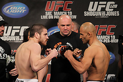 March 18, 2011; Newark, NJ; Jim Miller (l) and Kamal Shalorus (r) pose after weighing in for their upcoming bout at UFC 128 in Newark, NJ.