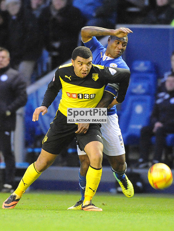 Leicesters Wes Morgan battles with Watfords Troy Deeney, Leicester City v Watford, Sky Bet Championship, Saturday 8th Febuary 2014