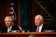 Senator Bob Corker, Chairman of the  Senate Foreign Relations Committee and Senator Ben Cardin at a hearing of the Senate Foreogn Relations Committe on January 11, 2017<br /> <br /> Photo by Dennis Brack