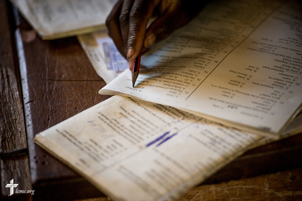 A student from the U-Dom ELCK (Evangelical Lutheran Church in Kenya) Project 24 site takes an exam on Thursday, June 23, 2016, at the Propoi Primary School in Chepareria, Kenya.  LCMS Communications/Erik M. Lunsford