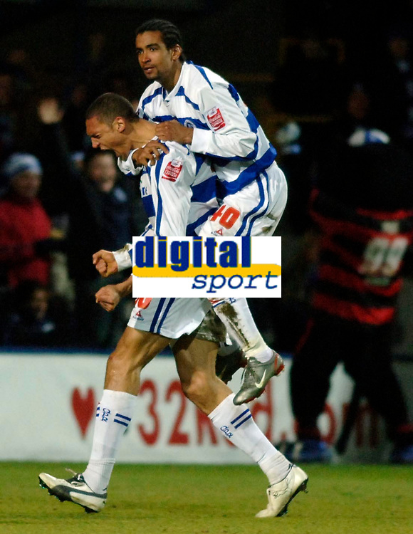 Photo: Daniel Hambury.<br />Queens Park Rangers v Cardiff City. Coca Cola Championship. 28/12/2005.<br />QPR's Marc Nygaard celebrates his goal with team mate Richard Langley on his back.