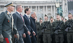 26.10.2018, Heldenplatz, Wien, AUT, Nationalfeiertag und Angelobung neuer Rekruten. im Bild Generalstabschef Robert Brieger, Sport- und Verteidigungsminister Mario Kunasek (FPÖ), Bundeskanzler Sebastian Kurz (ÖVP) und Bundespräsident Alexander Van der Bellen // chief of general staff Robert Brieger, Austrian Minister for Defence and Sports Mario Kunasek, Austrian Federal Chancellor Sebastian Kurz and federal president of Austria Alexander Van der Bellen during Austrian National Day at Heldenplatz in Vienna, Austria on 2018/10/26. EXPA Pictures © 2018, PhotoCredit: EXPA/ Michael Gruber