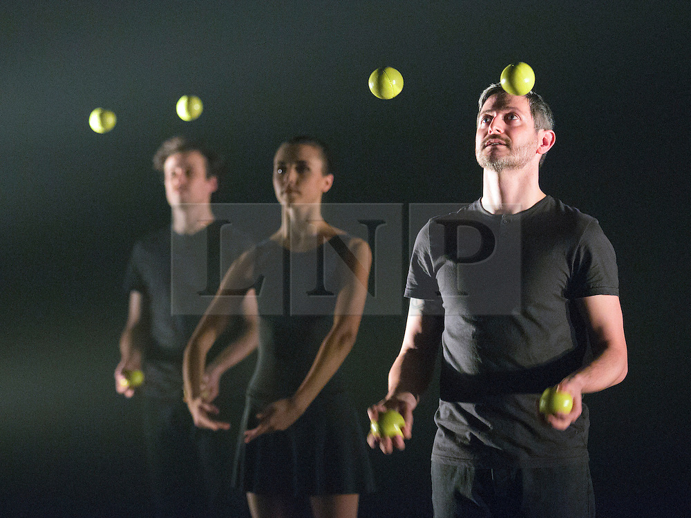 © Licensed to London News Pictures. 13/01/2015. London, England. L-R: Sakari Männistö, Kate Byrne and Owen Reynolds. Dress rehearsal of Gandini Juggling's new show 4 x 4 Ephemeral Architectures. Four classical dancers, choreographed by former Royal Ballet First Artist Ludovic Ondiviela, join four of Gandini's jugglers. World premiere at Linbury Studio Theatre, Royal Opera House, 13 to 15 January 2015. The show is part of the London International Mime Festival and is followed by a UK tour. Dancers: Kieran Stoneley, Kate Byrne, Erion O'Toole and Joe Bishop, jugglers: Kim Huynh, Sakari Männistö, Owen Reynolds and Kati Ylä-Hokkala. Photo credit: Bettina Strenske/LNP