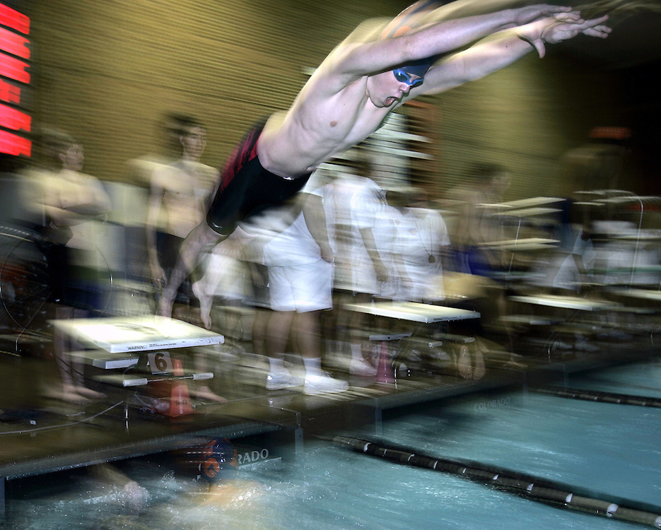 White Plains, NY / 2008 - Alex Besen from Horace Greeley High School participates in the crescendo freestyle relay race during the 44th Annual Seymour Roffer Boy's Relay Carnival Swimming Meet at the White Plains High School natatorium. ( Mike Roy / The Journal News )