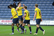 Players celebrate Oxford United midfielder Alex MacDonald goal during the Sky Bet League 2 match between Oxford United and Carlisle United at the Kassam Stadium, Oxford, England on 12 December 2015. Photo by Alan Franklin.