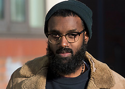 © Licensed to London News Pictures. 17/01/2017. London, UK. JOSHUA VIRASAMI,, seen at lunch break outside Willesden Magistrates Court in west London where she is one of nine people charged with wilfully obstructing the highway at Heathrow Airport. A group of protesters supporting the Black Lives Matter group blocked the M4 spur road to Heathrow Airport in August last year. Photo credit: Ben Cawthra/LNP