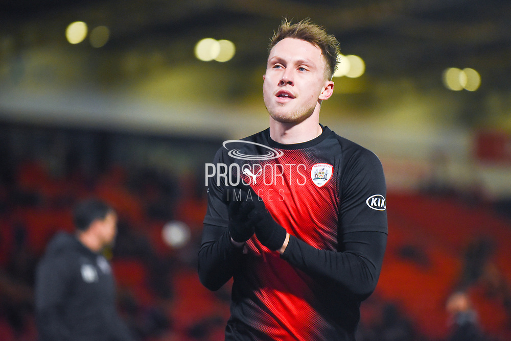 Cauley Woodrow of Barnsley (9) warming up during the EFL Sky Bet League 1 match between Doncaster Rovers and Barnsley at the Keepmoat Stadium, Doncaster, England on 15 March 2019.
