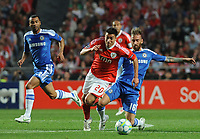 20120327: LISBON, PORTUGAL - Champions League 2011/2012 - Quarter-finals, First leg: SL Benfica vs Chelsea.<br /> In picture: Benfica's Nicolas Gaitan, from Argentine, center, fights for the ball with Chelsea's Raul Meireles, from Portugal.<br /> PHOTO: Alvaro Isidoro/CITYFILES