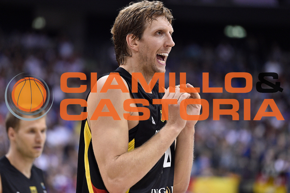 DESCRIZIONE : Berlino Berlin Eurobasket 2015 Group B Serbia Germany<br /> GIOCATORE : Dirk Nowitzki<br /> CATEGORIA : Esultanza<br /> SQUADRA : Germany <br /> EVENTO : Eurobasket 2015 Group B<br /> GARA : Serbia Germany<br /> DATA : 05/09/2015<br /> SPORT : Pallacanestro<br /> AUTORE : Agenzia Ciamillo-Castoria/M.Longo<br /> Galleria : Eurobasket 2015<br /> Fotonotizia : Berlino Berlin Eurobasket 2015 Group B Serbia Germany