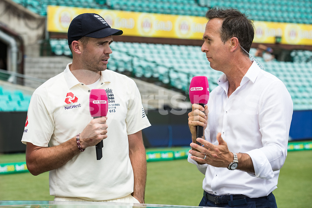 Former England Captain Michael Vaughan interviews James Anderson after England loses the Ashes during day 5 of the fifth test match during the 2017/18 Ashes Series between Australia and England at  Sydney Cricket Ground, Sydney, Australia on 8 January 2018. Photo by Peter Dovgan.