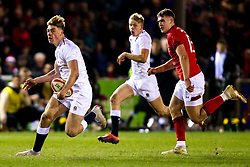 Ollie Hassell-Collins of England U20 runs with the ball - Mandatory by-line: Robbie Stephenson/JMP - 22/02/2019 - RUGBY - Zip World Stadium - Colwyn Bay, Wales - Wales U20 v England U20 - Under-20 Six Nations