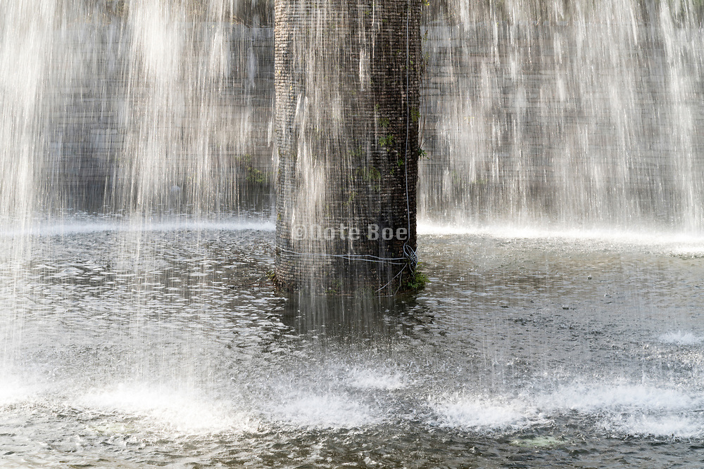 flowing fountain with water motion blur
