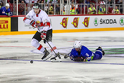 Bence Stipsicz of Hungary vs Luka Basic of Slovenia during Ice Hockey match between National Teams of Hungary and Slovenia in Round #3 of 2018 IIHF Ice Hockey World Championship Division I Group A, on April 25, 2018 in Arena Laszla Pappa, Budapest, Hungary. Photo by David Balogh / Sportida