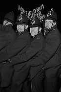 Police , some without ID numbers, at NGA picket of Stockport Messenger printing works in Warrington. 30.11.1983