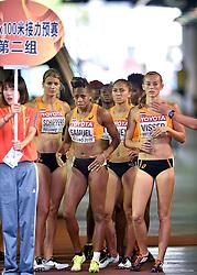 29-08-2015 CHN: IAAF World Championships Athletics day 7, Beijing<br /> Het Nederlandse vrouwenestafetteteam heeft zich geplaatst voor de finale van de 4x100 meter bij de WK atletiek in Peking. Het kwartet, met wereldkampioene Dafne Schippers als tweede loopster, eindigde als derde in de serie en die klassering was voldoende voor een finaleplek. Oranje noteerde bovendien een Nederlands record van 42,32 seconden. (L-R) Dafne Schippers, Jamile Samuel, Naomi Sedney  en Nadine Visser Photo by Ronald Hoogendoorn / Sportida