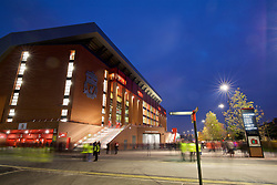 LIVERPOOL, ENGLAND - Tuesday, October 25, 2016: An exterior view of Liverpool's new Main Stand before the Football League Cup 4th Round match between Liverpool and Tottenham Hotspur. (Pic by David Rawcliffe/Propaganda)