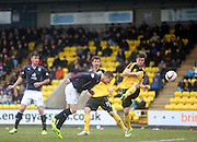 Kyle Benedictus heads home to put Dundee two goals to nil ahead- Livingston v Dundee - SPFL Championship at Almondvale <br />  - &copy; David Young - www.davidyoungphoto.co.uk - email: davidyoungphoto@gmail.com