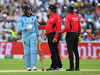 Cricket - 2019 ICC Cricket World Cup - Semi-Final: England vs. Australia<br /> <br /> Umpire Marais Erasmus (centre) asks England's Jason Roy to leave the pitch as Umpire Dharmasena (right) gives him out for 85, caught by Australia's Alex Carey off the bowling of Pat Cummins, at Edgbaston, Birmingham.<br /> <br /> COLORSPORT/ASHLEY WESTERN