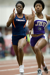 Talia Wise (Virginia) and Candace Nelms (James Madison) in the women's 55m dash.  Day 1 of the Virginia Tech Invitational Track and Field meet was held at the Rector Field House on the campus of Virginia Tech in Blacksburg, VA on January 11, 2008.