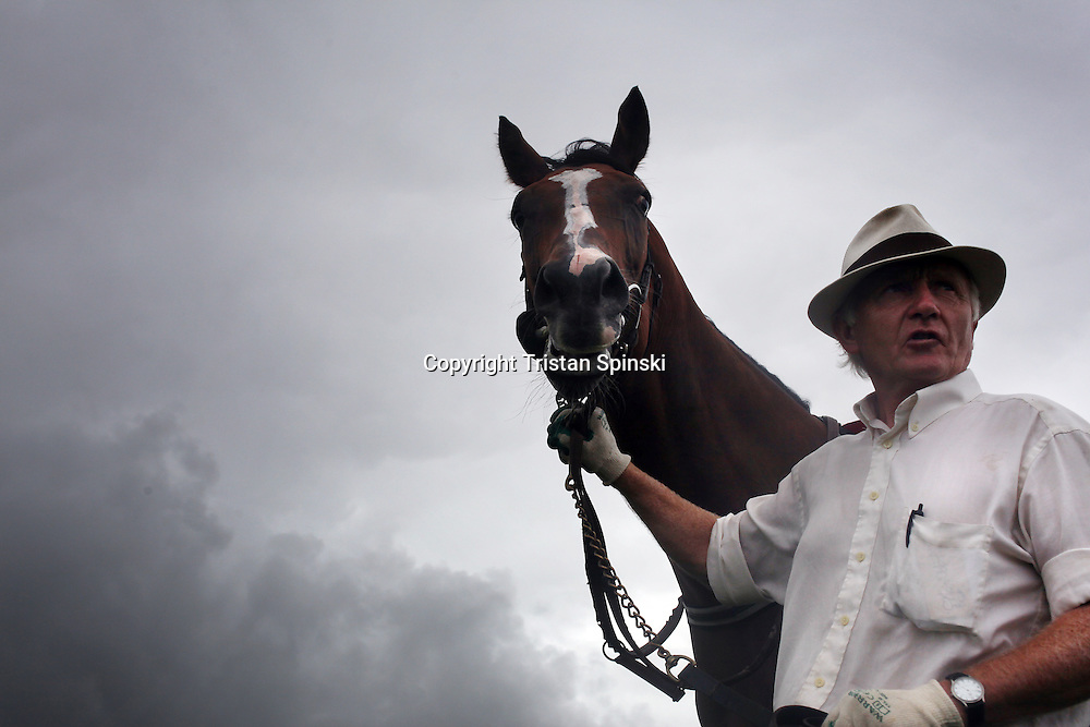 Trainers show off their horses to the crowd during the annual Dingle Races, the largest flapper races in Ireland, during the first day of the weekend-long event in Dingle, Ireland.
